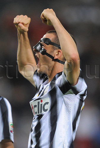 06.05.2012. Calgliari, Italy.  Series A Cagliari versus Juventus in the penultimate league  game of their Serie A season. Leonardo Bonucci Juventus cheering . Juventus beat Cagliari by 0-2  to win their 28th Serie A title