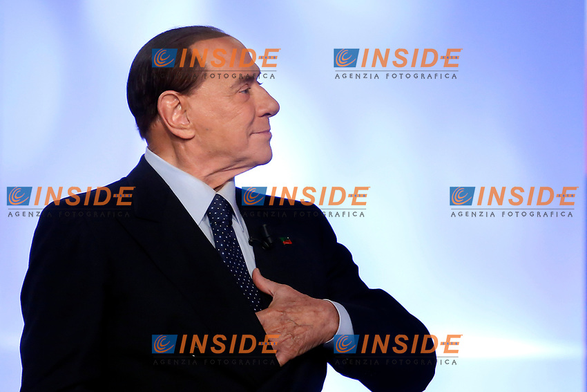 Silvio Berlusconi <br /> Roma 18/01/2018. Trasmissione tv La7 'L'aria che tira'.<br /> Rome January 18th 2018. Silvio Berlusconi appears as a guest on the talk show ''L'aria che tira' in Rome<br /> Foto Samantha Zucchi Insidefoto