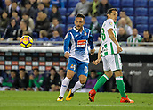 30th October 2017, Cornella-El Prat, Cornella de Llobregat, Barcelona, Spain; La Liga football, Espanyol versus Real Betis; Sergio Garcia of Espanyol makes a pass outside