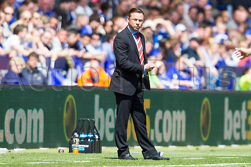 03.05.2014.  Leicester, England. Doncaster Rovers' manager Paul Dickov during the FA Championship match between Leicester City and Doncaster Rovers at The King Power Stadium.