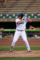 Lynchburg Hillcats first baseman Anthony Miller (40) at bat during the first game of a doubleheader against the Potomac Nationals on June 9, 2018 at Calvin Falwell Field in Lynchburg, Virginia.  Lynchburg defeated Potomac 5-3.  (Mike Janes/Four Seam Images)
