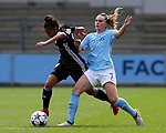 Selma Bacha of Lyon tackled by Melissa Lawley of Manchester City during the Women's Champions League, Semi Final 1st leg match at the Academy Stadium, Manchester. Picture date 22nd April 2018. Picture credit should read: Simon Bellis/Sportimage