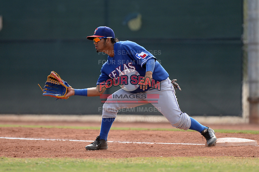 Texas Rangers first baseman Eduard Pinto (96) during an Instructional League game against the NC Dinos on October 9, 2013 at Surprise Stadium Training Complex in Surprise, Arizona.  (Mike Janes/Four Seam Images)