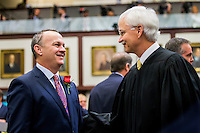 TALLAHASSEE, FLA. 1/12/16-Rep. Richard Corcoran, R-Land O'Lakes, left, greets Florida Supreme Court Justice Ricky Polston during the opening day of the 2016 legislative session, Tuesday at the Capitol in Tallahassee.<br /> <br /> COLIN HACKLEY PHOTO