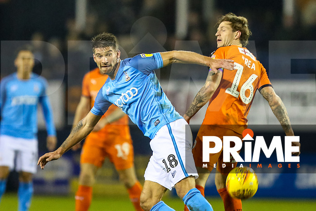 Kai Bruenker of Bradford City and Glen Rea of Luton Town during the Sky Bet League 1 match between Luton Town and Bradford City at Kenilworth Road, Luton, England on 27 November 2018. Photo by Thomas Gadd.