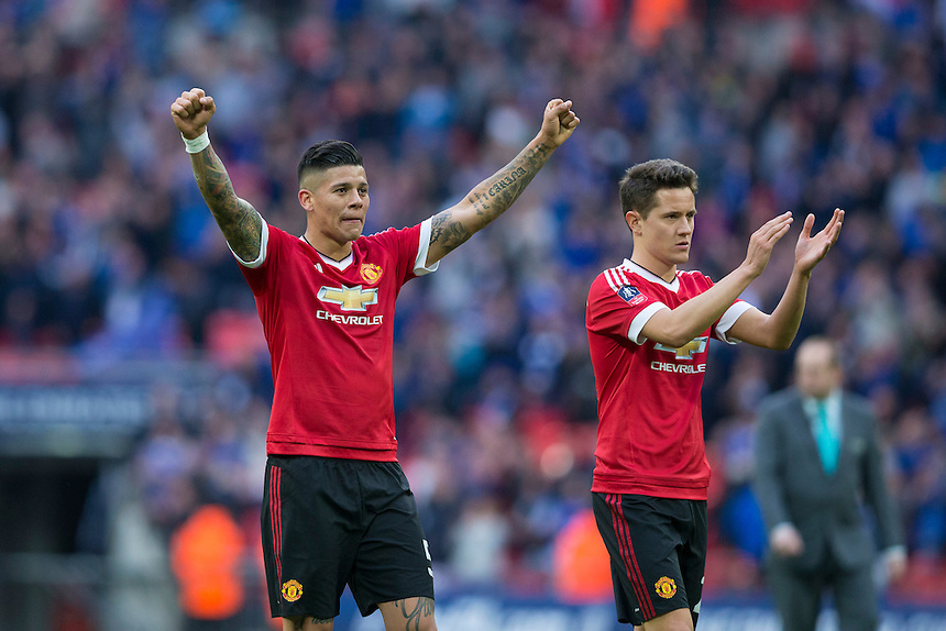 Manchester United's Marcos Rojo (left) and Ander Herrera celebrate at full time<br /> <br /> Photographer Craig Mercer/CameraSport<br /> <br /> Football - The FA Cup Semi Final - Everton v Manchester United - Saturday 23rd April 2016 - Wembley - London<br /> <br /> &copy; CameraSport - 43 Linden Ave. Countesthorpe. Leicester. England. LE8 5PG - Tel: +44 (0) 116 277 4147 - admin@camerasport.com - www.camerasport.com