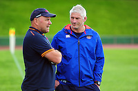 Bath Director of Rugby Todd Blackadder has a word with Scarlets Head Coach Wayne Pivac after the match. Pre-season friendly match, between the Scarlets and Bath Rugby on August 20, 2016 at Eirias Park in Colwyn Bay, Wales. Photo by: Patrick Khachfe / Onside Images