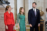 (L-R) Spanish Royals Princess Elena, Princess Letizia and Prince Felipe receive International Olympic Committee Evaluation Commission Team for a dinner at the Royal Palace.March 20,2013. (ALTERPHOTOS/Pool) /NortePhoto