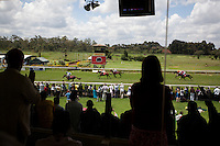 Fans watch the end of race at Ngong Racecourse.