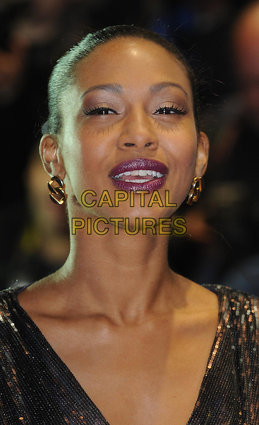 Shanika Warren-Markland.UK film premiere of 'Demons Never Die' held at the Odeon West End - Arrivals, London, England..October 10th, 2011.headshot portrait black lipstick pink mouth open gold .CAP/WIZ.© Wizard/Capital Pictures.