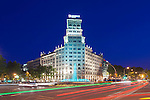 Europe, Spain, Catalonia, Barcelona, Passeig de Gracia at Twilight