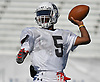 Rashad Tucker #5, Freeport left-handed quarterback, throws a pass during team practice at Hofstra University on Tuesday, June 20, 2017. The best seniors from Long Island will battle their New York City counterparts in the 22nd annual Empire Challenge on Wednesday, June 21 at Shuart Stadium.