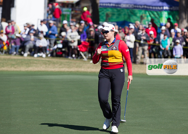 Ha Ha Jang celebrates after sinking her putt on the 18th  to take the lead at the end of the continuation of the Second round of the LPGA Coates Golf Championship 2016 , from the Golden Ocala Golf and Equestrian Club, Ocala, Florida. 5/2/16<br /> Picture: Mark Davison   Golffile<br /> <br /> <br /> All photos usage must carry mandatory copyright credit (&copy; Golffile   Mark Davison)