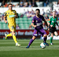 3rd November 2019; HBF Park, Perth, Western Australia, Australia; A League Football, Perth Glory versus Central Coast Mariners; Bruno Fornaroli of the Perth Glory looks to pass the ball under pressure - Editorial Use