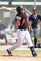 Miami Marlins infielder Rony Cabrera #66 at bat during an Instructional League intramural game on September 30, 2014 at Roger Dean Complex in Jupiter, Florida.  (Stacy Jo Grant/Four Seam Images)