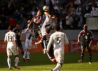 CARSON, CA - March 18,2012: DC United midfielder Marcelo Saragosa (11) and LA Galaxy forward Chad Barrett (9) during the LA Galaxy vs DC United match at the Home Depot Center in Carson, California. Final score LA Galaxy 3, DC United 1.