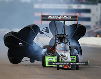 Aug 20, 2016; Brainerd, MN, USA; NHRA top fuel driver Clay Millican during qualifying for the Lucas Oil Nationals at Brainerd International Raceway. Mandatory Credit: Mark J. Rebilas-USA TODAY Sports