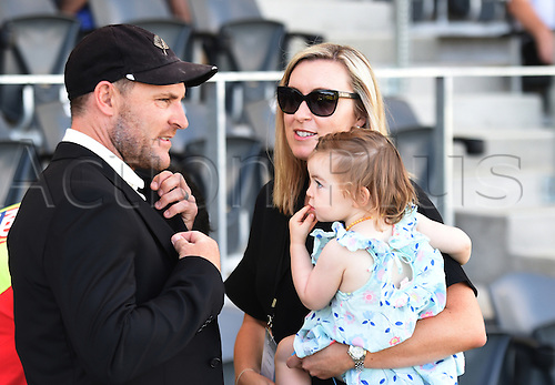 20.02.2016. Christchurch, New Zealand.  Brendon McCullum and family. New Zealand Black Caps versus Australia. Day 1, 2nd test match, Hagley Oval in Christchurch, New Zealand. Saturday 20 February 2016.