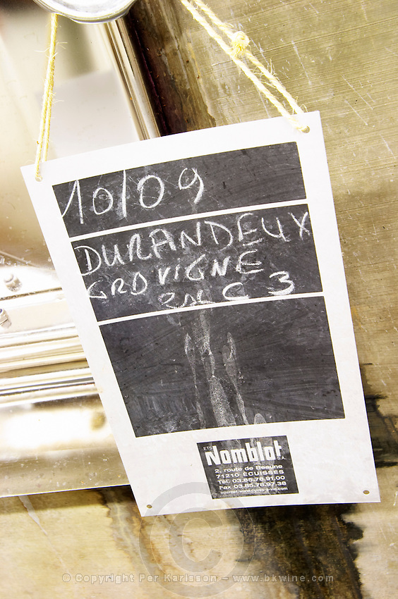 tank door sign on tank durandeux domaine sang des cailloux vacqueyras rhone france