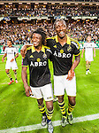 ***BETALBILD***  <br /> Solna 2015-08-10 Fotboll Allsvenskan AIK - Djurg&aring;rdens IF :  <br /> AIK:s Mohamed Bangura och Dickson Etuhu jublar framf&ouml;r AIK:s supportrar efter matchen mellan AIK och Djurg&aring;rdens IF <br /> (Foto: Kenta J&ouml;nsson) Nyckelord:  AIK Gnaget Friends Arena Allsvenskan Djurg&aring;rden DIF jubel gl&auml;dje lycka glad happy
