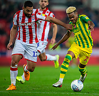 4th November 2019; Bet365 Stadium, Stoke, Staffordshire, England; English Championship Football, Stoke City versus West Bromwich Albion; Cameron Carter-Vickers of Stoke City puts Grady Diangana of West Bromwich Albion under pressure - Strictly Editorial Use Only. No use with unauthorized audio, video, data, fixture lists, club/league logos or 'live' services. Online in-match use limited to 120 images, no video emulation. No use in betting, games or single club/league/player publications