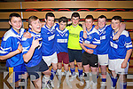 Pictured are the Annascaul u18 indoor soccer team on Sunday were l-r: Jerry Foley. Cian Kennedy, Daniel O'Connell, Jack O'Connor, Gearoid Sayers, Cian Campion, Sean Brosnan and Conor Counihan