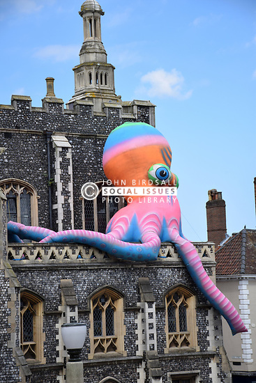 Inflatable octopus on The Guildhall, Mayor's weekend celebrations, Norwich UK July 2018