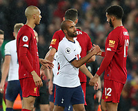 27th October 2019; Anfield, Liverpool, Merseyside, England; English Premier League Football, Liverpool versus Tottenham Hotspur; Lucas Moura of Tottenham Hotspur shakes hands with Trent Alexander-Arnold of Liverpool after the final whistle - Strictly Editorial Use Only. No use with unauthorized audio, video, data, fixture lists, club/league logos or 'live' services. Online in-match use limited to 120 images, no video emulation. No use in betting, games or single club/league/player publications
