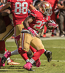 San Francisco 49ers running back Mike Davis (22) finds room to run on Sunday, October 23, 2016, at Levis Stadium in Santa Clara, California. The Buccaneers defeated the 49ers 34-17.