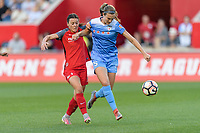 Bridgeview, IL - Saturday August 12, 2017: Hayley Raso, Katie Naughton during a regular season National Women's Soccer League (NWSL) match between the Chicago Red Stars and the Portland Thorns FC at Toyota Park. Portland won 3-2.