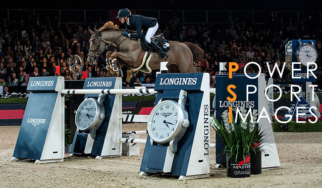 Simon Delestre of France rides Ryan des Hayattes in action at the Longines Grand Prix during the Longines Hong Kong Masters 2015 at the AsiaWorld Expo on 15 February 2015 in Hong Kong, China. Photo by Juan Flor / Power Sport Images
