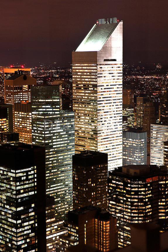 skyscrapers at night