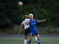 Seattle, WA - Saturday July 22, 2017: Sarah Killion, Megan Rapinoe during a regular season National Women's Soccer League (NWSL) match between the Seattle Reign FC and Sky Blue FC at Memorial Stadium.