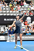 10th January 2018, Sydney Olympic Park Tennis Centre, Sydney, Australia; Sydney International Tennis, round 2; Gabrine Muguruza (ESP) prepares to serve in her match against Kiki Bertens (NED)