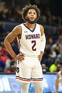 Washington, DC - December 22, 2018: Howard Bison guard RJ Cole (2) looks at the scoreboard during the DC Hoops Fest between Hampton and Howard at  Entertainment and Sports Arena in Washington, DC.   (Photo by Elliott Brown/Media Images International)