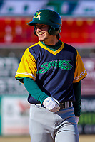 Beloit Snappers outfielder Austin Beck (22) during a Midwest League game against the Wisconsin Timber Rattlers on April 7, 2018 at Fox Cities Stadium in Appleton, Wisconsin. Beloit defeated Wisconsin 10-1. (Brad Krause/Four Seam Images)