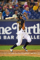 Wilmington Blue Rocks left fielder Alfredo Escalera (24) at bat during a game against the Lynchburg Hillcats on June 3, 2016 at Judy Johnson Field at Daniel S. Frawley Stadium in Wilmington, Delaware.  Lynchburg defeated Wilmington 16-11 in ten innings.  (Mike Janes/Four Seam Images)