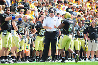 06 September 08: Colorado offensive coordinator Mark Helfrich has a word with tailback Demetrius Sumler (8) after a play against Eastern Washington. The Colorado Buffaloes defeated the Eastern Washington Eagles 31-24 at Folsom Field in Boulder, Colorado. FOR EDITORIAL USE ONLY