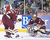 Brad King, Tim Filangieri, Cory Schneider - The University of Massachusetts-Lowell River Hawks defeated the Boston College Eagles 6-3 on Saturday, February 25, 2006, at the Paul E. Tsongas Arena in Lowell, MA.