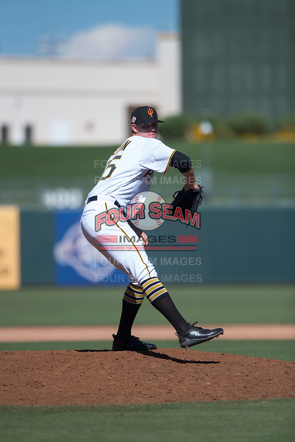 Surprise Saguaros relief pitcher Blake Weiman (55), of the Pittsburgh Pirates organization, delivers a pitch during an Arizona Fall League game against the Salt River Rafters on October 9, 2018 at Surprise Stadium in Surprise, Arizona. Salt River defeated Surprise 10-8. (Zachary Lucy/Four Seam Images)