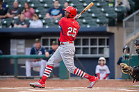 Springfield Cardinals outfielder Justin Williams (25) connects on a pitch on May 18, 2019, at Arvest Ballpark in Springdale, Arkansas. (Jason Ivester/Four Seam Images)