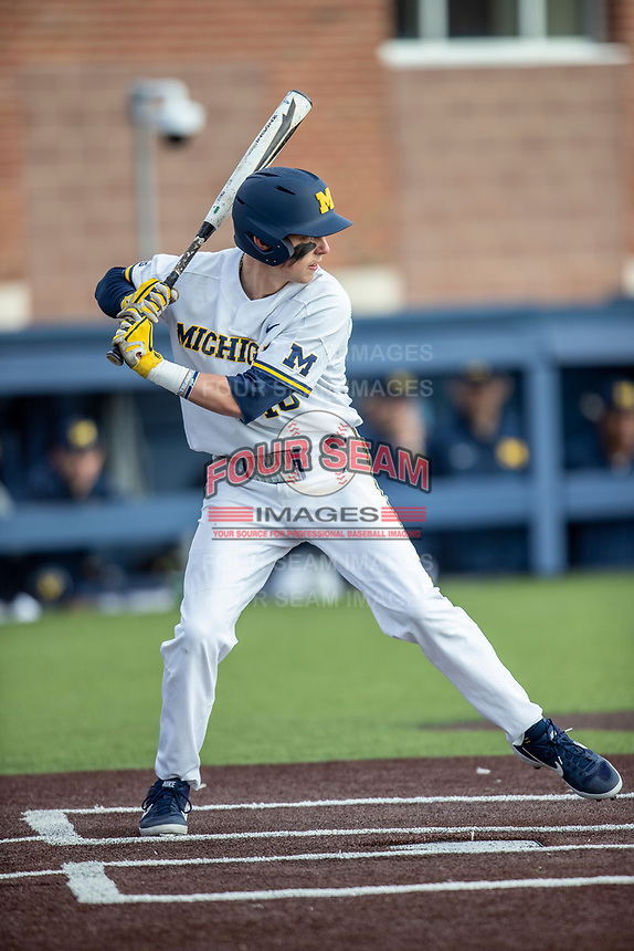 Michigan Wolverines second baseman Blake Nelson (10) at bat against the Western Michigan Broncos on March 18, 2019 in the NCAA baseball game at Ray Fisher Stadium in Ann Arbor, Michigan. Michigan defeated Western Michigan 12-5. (Andrew Woolley/Four Seam Images)