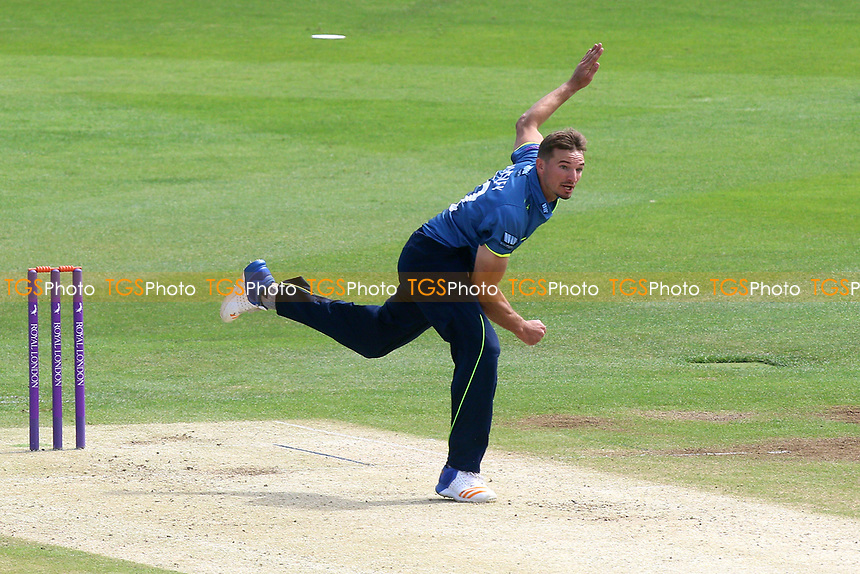 Charlie Hartley in bowling action for Kent during Kent Spitfires vs Essex Eagles, Royal London One-Day Cup Cricket at the St Lawrence Ground on 17th May 2017