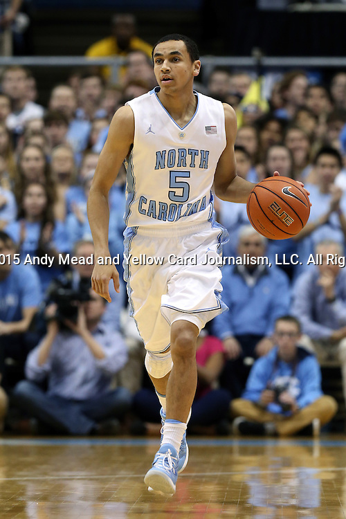 02 February 2015: North Carolina's Marcus Paige. The University of North Carolina Tar Heels played the University of Virginia Cavaliers in an NCAA Division I Men's basketball game at the Dean E. Smith Center in Chapel Hill, North Carolina. Virginia won the game 75-64.