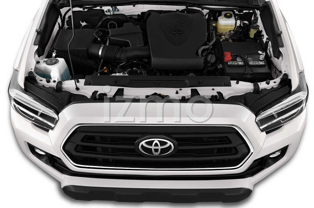 Car stock 2020 Toyota Tacoma SR5 4 Door Pick Up engine high angle detail view