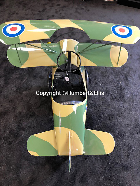 BNPS.co.uk (01202 558833)<br /> Pic: Humbert&Ellis/BNPS<br /> <br /> A restored pedal bi-plane from the 1930's, est. £2,250.<br /> <br /> £200,000 of pedal power...<br /> <br /> A remarkable single owner collection of over 85 vintage toy cars has emerged for sale for £200,000.<br /> <br /> The fleet of rare pedal cars which were acquired over half a century form what is thought to be the biggest private collection of its kind in the world.<br /> <br /> It includes child car models of Rolls Royces, Bugattis and Bentleys, as well as a quirky amphibian car. <br /> <br /> The collection has been consigned for sale with Humbert & Ellis Auctioneers by a retired businessman in his 80s.<br /> <br /> He travelled all over the world to get his hands on the cars, and built a barn next to his Devon home to display them in.