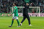 02.11.2019, wohninvest WESERSTADION, Bremen, GER, 1.FBL, Werder Bremen vs SC Freiburg<br /> <br /> DFL REGULATIONS PROHIBIT ANY USE OF PHOTOGRAPHS AS IMAGE SEQUENCES AND/OR QUASI-VIDEO.<br /> <br /> im Bild / picture shows<br /> Florian Kohfeldt (Trainer SV Werder Bremen) schlägt Hände über dem Kopf zusammen nach Schlusspfiff / Spielende, <br /> Leonardo Bittencourt (Werder Bremen #10), <br /> <br /> Foto © nordphoto / Ewert