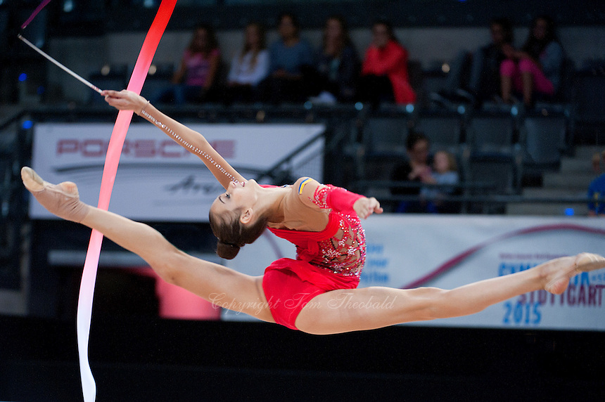 September 10, 2015 - Stuttgart, Germany - ELEONORA ROMANIA of Ukraine performs in AA qualifications at 2015 World Championships.