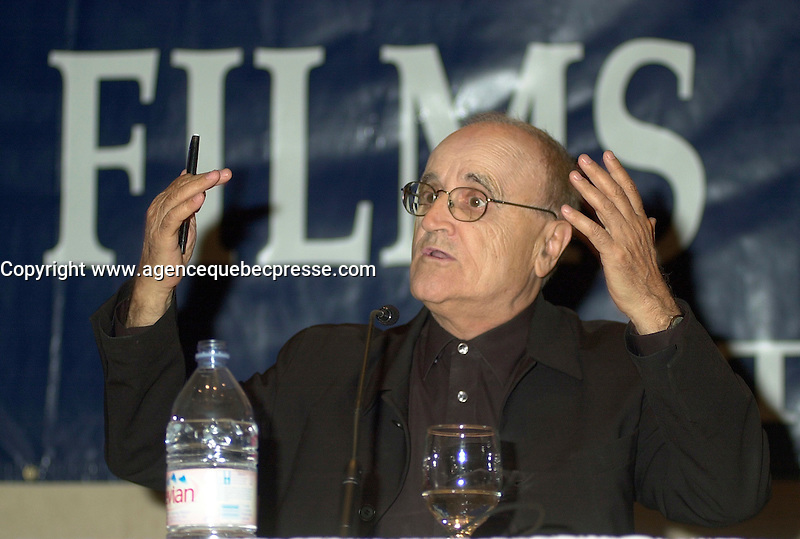 Aug 6 2002, Montreal, Quebec, Canada<br /> <br /> Serge Losique, Founder and President, World Film Festival, announce this year programmation, at a press conference, Aug 6 2002, in  Montreal, Quebec, Canada<br /> <br /> <br /> Mandatory Credit: Photo by Pierre Roussel- Images Distribution. (&copy;) Copyright 2002 by Pierre Roussel <br /> <br /> NOTE : <br />  Nikon D-1 jpeg opened with Qimage icc profile, saved in Adobe 1998 RGB<br /> .Uncompressed  Uncropped  Original  size  file availble on request.