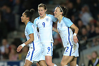 Lucy Bronze (Manchester City) of England Women (right) celebrates after she scores her team's second goal of the game to make the score 2-0 during the Women's Friendly match between England Women and Austria Women at stadium:mk, Milton Keynes, England on 10 April 2017. Photo by PRiME Media Images / David Horn.